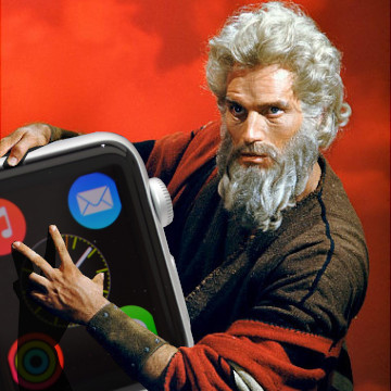 """Moses Delivers the Apple Watch"" by Charney Kaye"