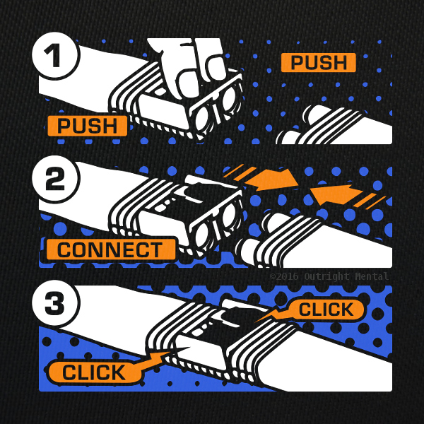 """Push Connect Click"" t-shirt design by Charney Kaye"
